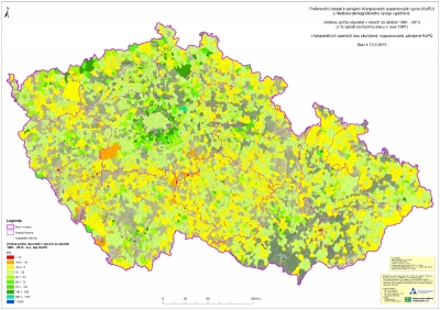 Preferenční oblasti k zahájení Komplexních pozemkových úprav (KoPÚ) z hlediska demografického vývoje'
