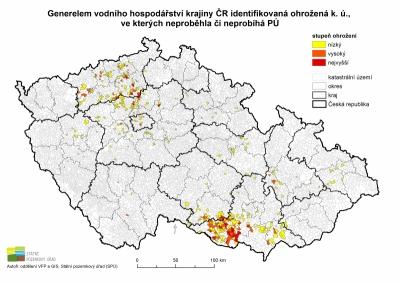 Generelem vodního hospodářství krajiny ČR identifikovaná ohrožená k. ú., ve kterých neproběhla či neprobíhá PÚ'
